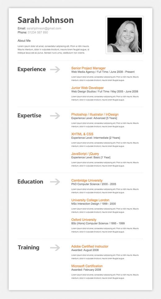CV (özgeçmiş) örneği