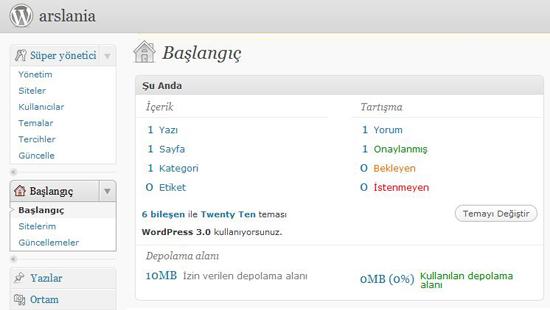 WordPress 3.0 ile Çoklu Blog Oluşturmak