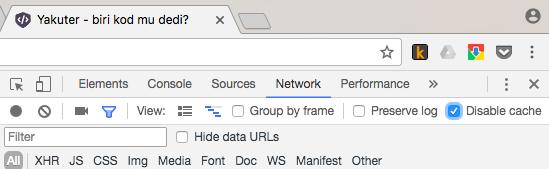 Yakuter Chrome belirli sayfa için önbelleği kapatma