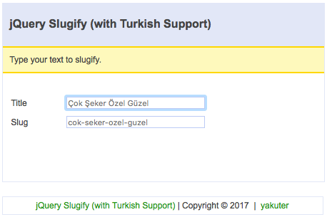 jquery-slugify-with-turkish-support